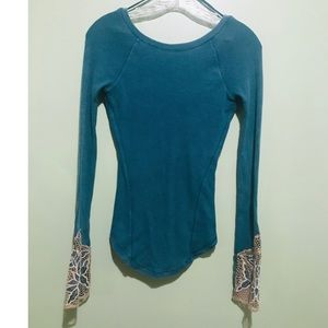 Teal Thermal with Floral Sleeve Detail